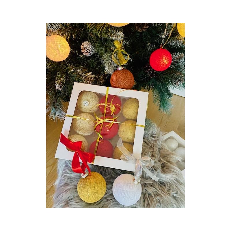 Jõulu haldjapallid 9-ne komplekt  (punane+kuldne)