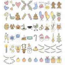 Lightboxi emotikonid-pidu, sünnipäev, jõulud, halloween...Sobivad A3,A4,A5 lightboxile